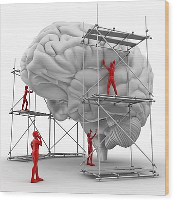 Brain With Workers, Mental Health Wood Print by Pasieka