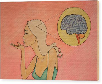 Brains And Beauty Wood Print by Ramey Guerra