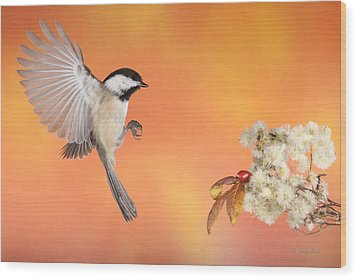 Wood Print featuring the photograph Braking For The Rose Hip by Gerry Sibell