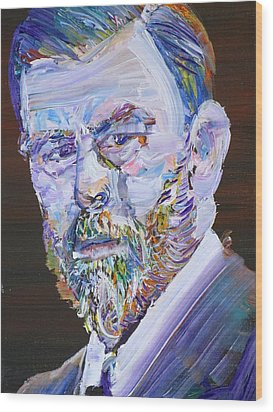 Wood Print featuring the painting Bram Stoker - Oil Portrait by Fabrizio Cassetta