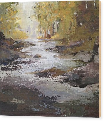 Wood Print featuring the painting Bramble Brook by Helen Harris