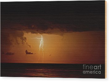Wood Print featuring the photograph Branch Lightning Over Lake by Charline Xia