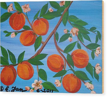 Branch Of Peaches Wood Print by Elizabeth Janus