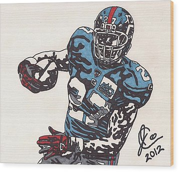 Brandon Jacobs 1 Wood Print by Jeremiah Colley