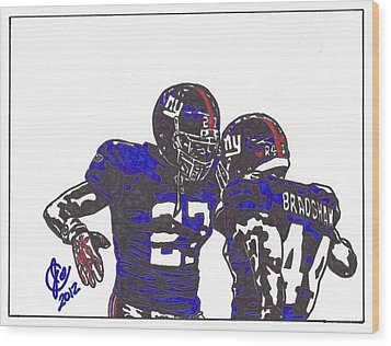 Wood Print featuring the drawing Brandon Jacobs And Ahmad Bradshaw by Jeremiah Colley