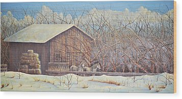 Wood Print featuring the painting Brandon's Horses by Dusty Bahnson