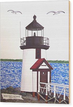 Brant Point Lighthouse At Nantucket Harbor Wood Print by Frederic Kohli
