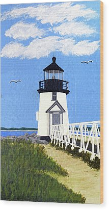 Brant Point Lighthouse Painting Wood Print by Frederic Kohli