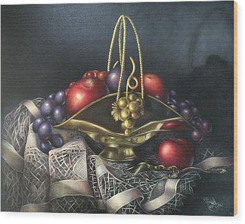 Brass Basket Wood Print by Michelle Kerr