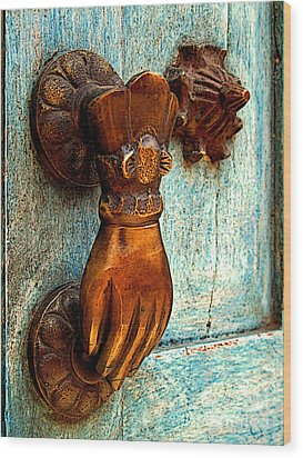 Brass Hand On The Blue Door Wood Print by Mexicolors Art Photography