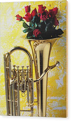 Brass Tuba With Red Roses Wood Print by Garry Gay