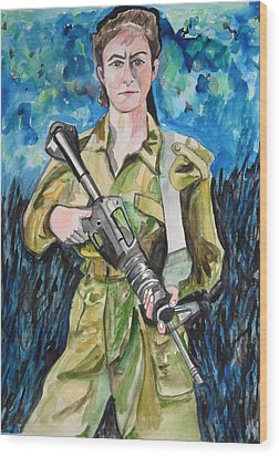 Wood Print featuring the painting Bravado, An Israeli Woman Soldier by Esther Newman-Cohen