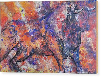 Brave Bull Wood Print