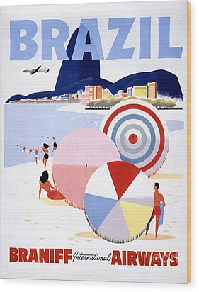 Brazil Vintage Travel Poster Restored Wood Print