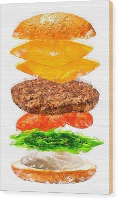 Brazilian Salad Cheeseburger Wood Print