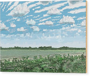 Wood Print featuring the digital art Brazoria County Field by Kerry Beverly