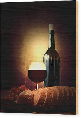 Bread And Wine Wood Print by Lourry Legarde