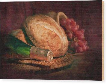 Bread And Wine Wood Print by Tom Mc Nemar