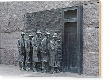 Breadline At The Fdr Memorial - Washington Dc Wood Print by Brendan Reals