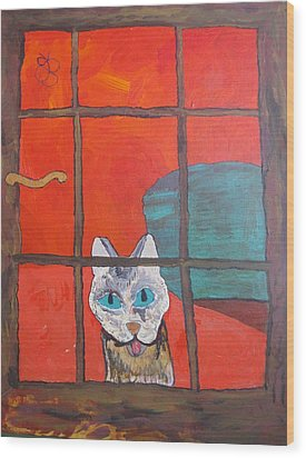 Wood Print featuring the painting Break And Enter Cat by AJ Brown