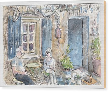 Wood Print featuring the painting Breakfast Al Fresco by Tilly Strauss