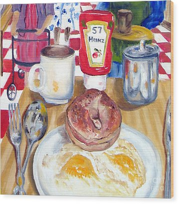 Breakfast At The Deli Wood Print by Lisa Boyd