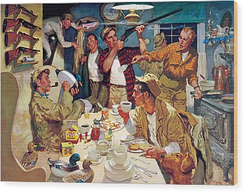 Breakfast At The Hunting Cabin Wood Print by Dwyer