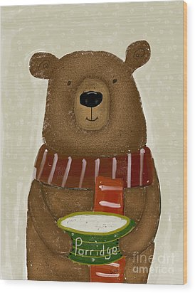 Wood Print featuring the painting Breakfast For Bears by Bri B