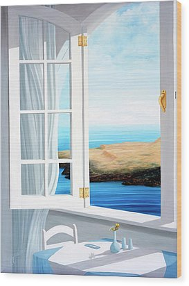 Breakfast In Santorini - Prints Made From Original Oil Painting Wood Print