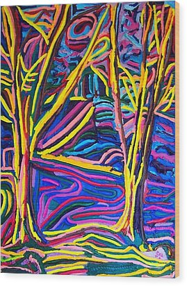 Breakfast In The Park Wood Print by Ira Stark