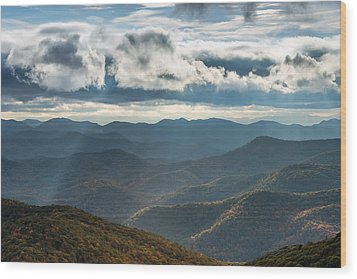 Blue Ridge Parkway Breaking Through  Wood Print by Rick Dunnuck