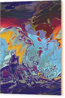 Breaking Waves Wood Print by Alika Kumar