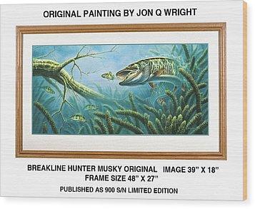 Breakline Hunter Musky Wood Print by Jon Q Wright