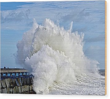 Breakwater Explosion Wood Print by Michael Cinnamond