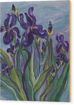Breath Of Iris Wood Print by Bev Veals