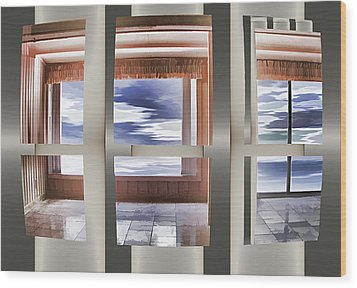 Wood Print featuring the digital art Breathing Space - Silver, Optimized For Metallic Paper by Wendy J St Christopher