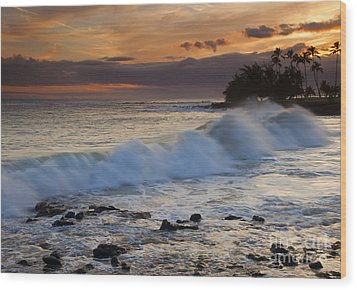 Brennecke Waves Sunset Wood Print by Mike  Dawson