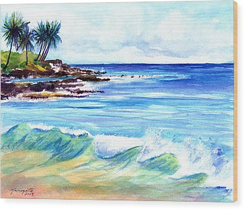 Wood Print featuring the painting Brennecke's Beach by Marionette Taboniar