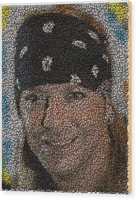 Wood Print featuring the mixed media Bret Michaels Poison Bottle Cap Mosaic by Paul Van Scott