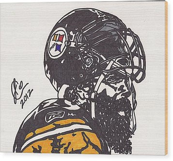 Wood Print featuring the drawing Brett Keisel by Jeremiah Colley