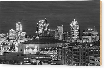 Wood Print featuring the photograph Brew City At Night by Randy Scherkenbach