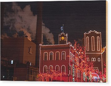 Brewery Lights Wood Print by Steve Stuller