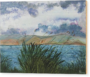 Brewing Storm Over Lake Watercolor Painting Wood Print