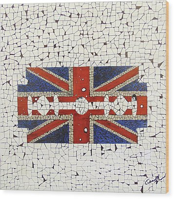 Union Jack Wood Print by Emil Bodourov