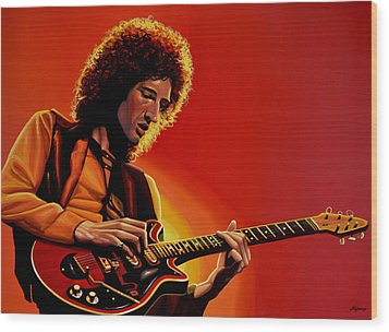 Brian May Of Queen Painting Wood Print by Paul Meijering
