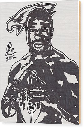 Wood Print featuring the drawing Brian Westbrook by Jeremiah Colley