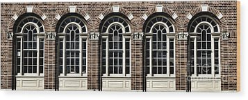 Wood Print featuring the photograph Brick Arch Windows by Brad Allen Fine Art