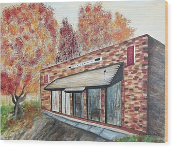 Brick Building Wood Print by Suzanne  Marie Leclair