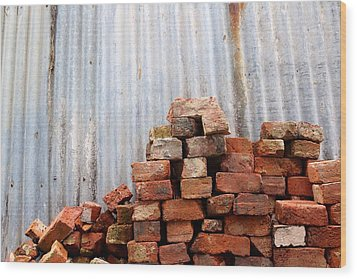 Wood Print featuring the photograph Brick Piled by Stephen Mitchell