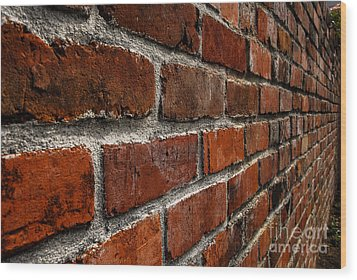 Brick Wall With Perspective Wood Print